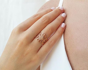 Rose gold filigree ring, Boho ring, Everyday ring, Statement ring, Rose gold band ring, Bridesmaid gifts, Floral ring, Rose gold jewelry