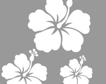 Set of 3 stickers Hibiscus