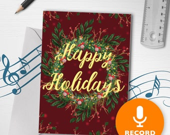 Holiday Cards With Recordable Sound | Happy Holidays Greeting Card, Christmas Greeting Card, Christmas Wreath Card 00013