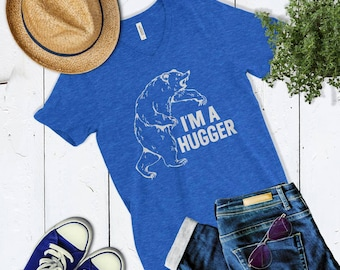 Cute I'm A Hugger Women's Vneck T Shirt. Women's Bear Shirt.
