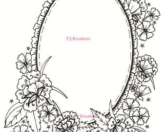 Mirror - Ruffled mirror with flowers