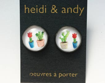 Cactus, Succulents, Plants, Green, Nature, Stainless Steel, Brass, Studs Earrings, French Lever, Hoop, Hypoallergenic, Watercolor, Jewelry