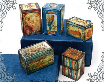 5 BISCUIT Dollhouse Miniature Tin Set #4 – 1:12 Printable Vintage Dollhouse Tin Miniature Kitchen Cookie Box Biscuit Miniature Tin DOWNLOAD