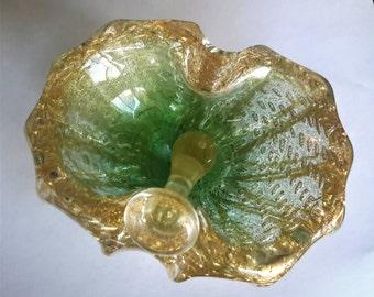 Murano Barovier & Toso Glass Ashtray With Pestle Snuffer Cordonato d' Oro Gold Leaf Fleck Murano Italy Cigar Tobacciana Mens Gift