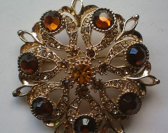 Amber and Golden Brown Rhinestone Brooch - 5184