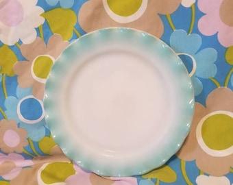 """Hazel Atlas Turquoise Crinoline 9"""" Salad plate"""