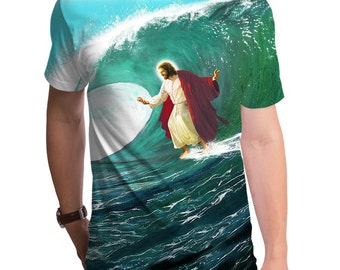 Surfs Up Jesus (GT3670-285SUB) Men's Tee. Funny t-shirts, geeky gift, Jesus shirt, Jesus tee, christian clothing, surfing, beach.