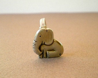 Elephant Ring, Elephant Button Ring, Pewter Elephant Ring, Pachaderm Ring, Silver Baby Elephant Ring, Wire Wrapped Baby Elephant Ring