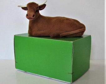 "Large Vintage Wagner Kunstlerschutz flocked steer, 5 3/4"" long, Made in West Germany, handmade cow, original box, gift idea"
