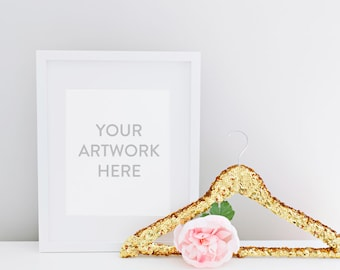 Styled Stock Photography - White Frame with Gold Sequin Hanger Styled Image Instant Download, Stock Photo, Styled Image