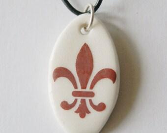 Fleur de Lis French Style Ceramic Pendant Handmade Pendant Handmade Pendant Jewelry Necklace