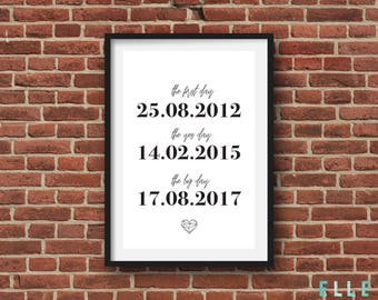 Personalised // Custom // Wedding Print // Engagement // Anniversary // Valentines // Modern // Monochrome // A4 // A5 //
