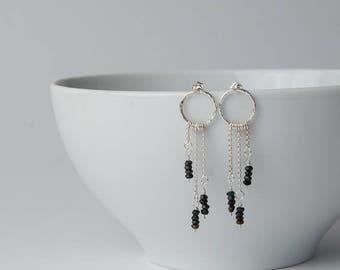 Sterling Silver Gemstone Beaded Earrings   Black Tourmaline   Dangle earrings   Stud earrings   Post earrings