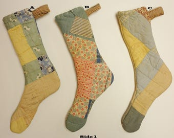 Vintage Quilt Stocking, Primitive Stockings, Christmas Decor, Country Farmhouse Decor