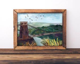 Clifton Suspension Bridge Illustration, Bristol Print, Bristol Landscape, Isambard Kingdom Brunel, Bristol Gift, Bristol Poster, Southwest