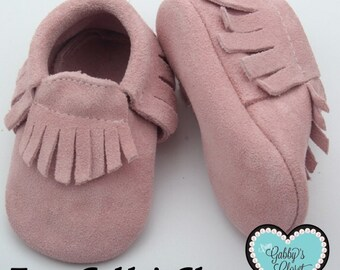 Genuine Leather Moccasins- Rose Pink Suede