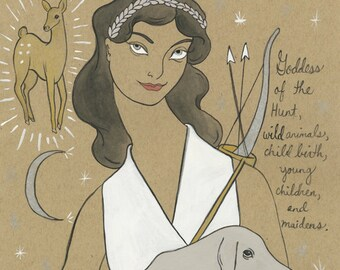 Artemis Greek Goddess of the Hunt print by Amanda Laurel Atkins
