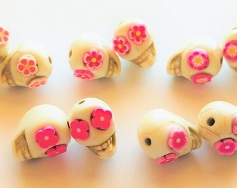 Sugar Skull Beads White and Pink Flower Eye Day of the Dead Skull Beads Quantity 10 Beads Size 13 MM