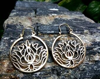 Tribal Brass Earrings, Lotus design. Brass Tribal Earrings, Boho Earrings. Hoop Earrings. Lotus Earrings, Bohemian jewelry