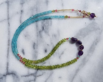 Amethyst, Peridot and Aquamarine Necklace, Wrap Bracelet, Gold Filled