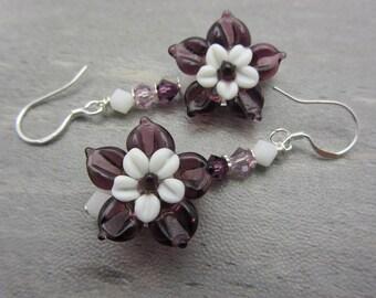 Lampwork Flower Earrings Purple Flower Earrings Glass Bead Earrings Dangle Drop Earrings Handmade Earrings SRAJD USA Handmade