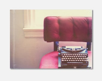 gallery wrapped canvas, typewriter photograph, still life photography, red velvet chair, vintage typewriter, photo, plum, office decor