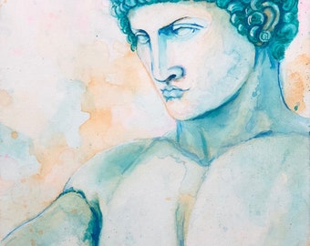 Hermes watercolor canvas painting - Greek Mythology Art
