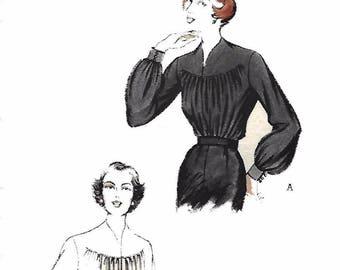 "1950's Vintage Sewing Pattern Gathered Front Slashed Yoke Blouse Rare Bust 30"""