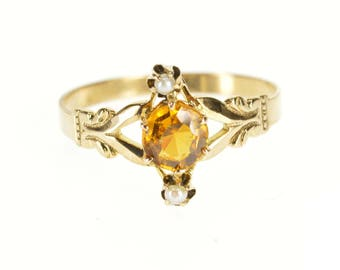 8k Victorian Round Citrine Pearl Butterfly Accent Ring Gold