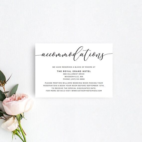 wedding hotel information card template