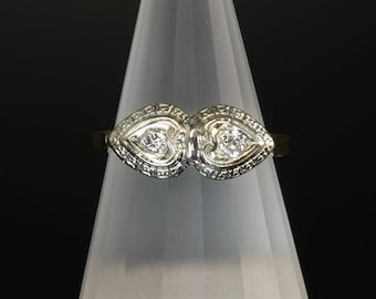 Vintage! 14K Yellow and White Gold Art Deco Double Heart Diamond Ring