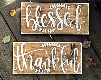 Blessed Sign   Thankful Sign   Home Decor   Rustic Home Decor   Wood Sign   Hand Painted