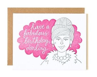Have a Fabulous Birthday, Darling Letterpress Card // 1canoe2