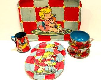 Vintage Children's Tea Set, Ohio Art Toys, Metal Tea Set, Girl with Dolly, Red Yellow Blue Checkerboard Design, 9 Piece Set, Circa 1950's