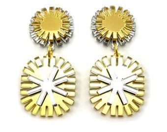 FUZZY MONOCHROME Statment Earrings Metallic - Laser Cut, Art Deco Earrings, Modern Earrings, Plastic Earrings, Big Earrings, OOAK