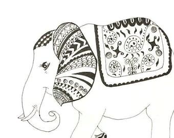 Elephant artwork, Mandala drawing, Black and white Original, zentangle drawing, Nursery Art drawing, Boho drawing, Whimsical artwork