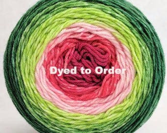 Watermelon Panoramic Gradient, dyed to order - pick your yarn and yardage!