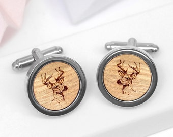 Stag Cufflinks, Deer Cufflinks, Groomsmen Cufflinks, Wooden Cufflinks, Woodland Wedding Cufflinks, Wooden Stag Head Cufflinks