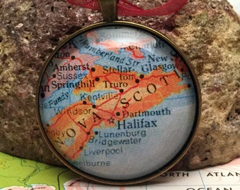 Nova Scotia Christmas Ornament, Keep a memory Alive / HONEYMOON Gift / Wedding Map Gift / Travel Tree Ornament / Corporate gift