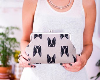 Dogs Clutch Purse, Boston Terrier Silver Metal Frame Purse, Dog Lover Gift, Canvas Bag, Evening Handbag, Sarah Golden Fabric, Gifts for her
