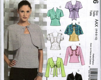 McCall's M5006 Misses Lined and Unlined Shrugs Lined Capelets and Tops Size AAX 4 6 8 10 Factory Folded Uncut