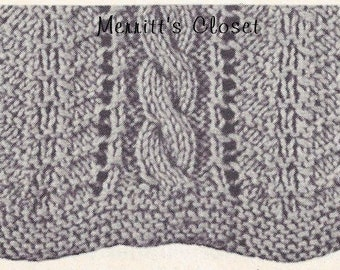 "Cable Scarf,   9"" X 74"" Long Scarf,  Knitting Pattern, INSTANT Download pdf"