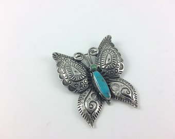 Butterfly Turquoise Brooch Sterling