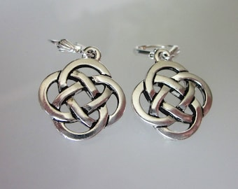 Silver Celtic Earrings, Celtic Knot Earrings, Celtic Jewelry, Unisex Dangle, Antiqued Fine Silver Pewter,  Celtic Knot  Dangle