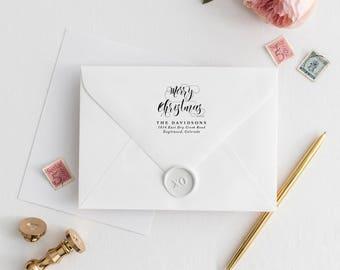 "Return Address Stamp Christmas Address Stamp, Family Return Address Stamp for Address, Return Address Stamp Last Name Address Stamp | 2""x2"""