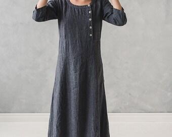 Linen Maxi Dress / Linen Long Dress / Soft Linen Maternity Dress with Buttons / Linen Loose Dress / Linen Clothing / Linen Dress for Women