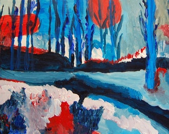Winter forest in red and blue-20x60-Acrylic on MDF-2016