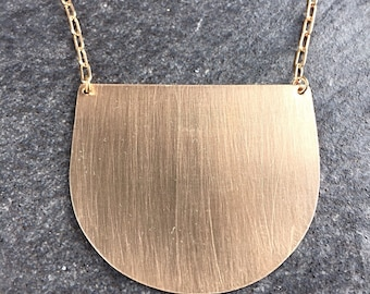 Crescent Necklace - Bronze geometric pendant necklace - modern bronze crescent necklace - bronze contemporary pendant---0083