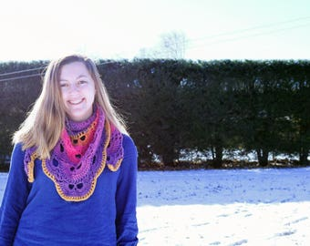 Purple Orange and Pink Shawl Scarf, Crocheted Shawl, Lacy Summer Shawl, Wedding Shawl, Summer Scarf