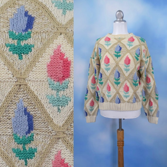 Vintage 90s Harlequin Tulip Knit Pullover Sweater (size medium)